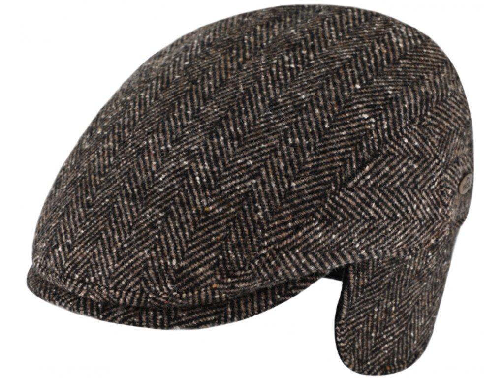 Pánská hnědá zimní bekovka Fiebig  s klapkami na uši