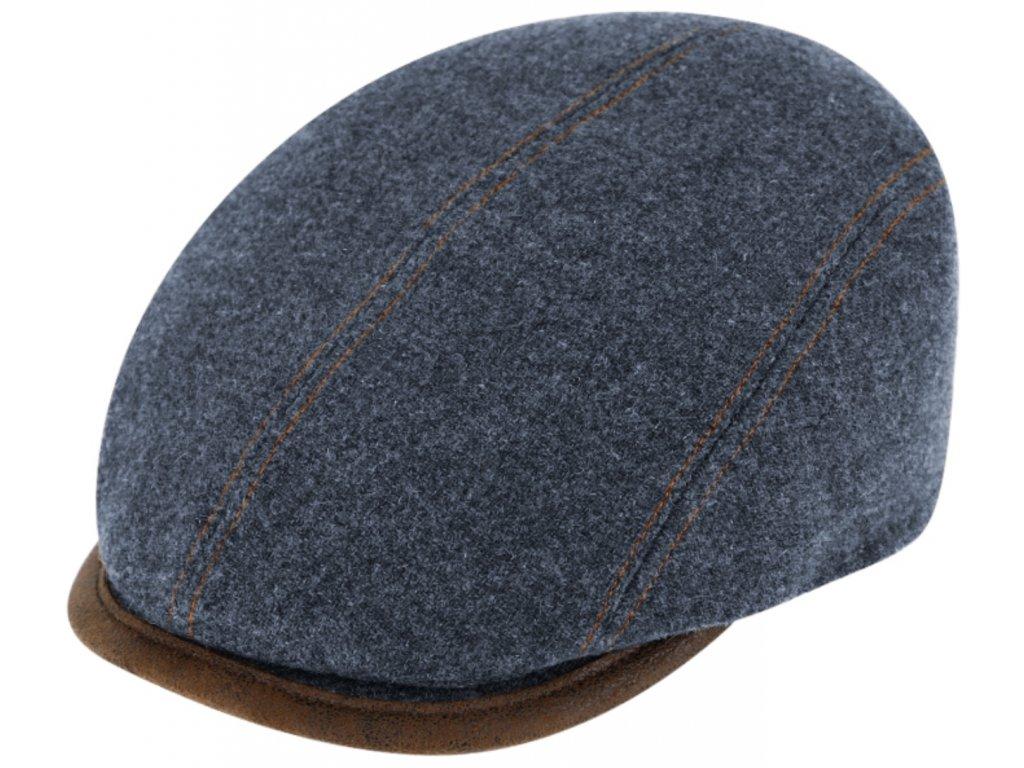 Zimní modrá bekovka driver cap od Fiebig - modrá vlna  a kůže