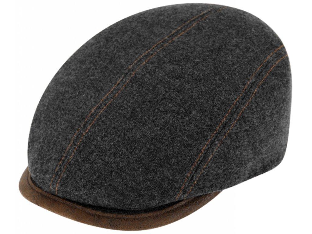 Zimní šedá bekovka driver cap od Fiebig - šedá vlna a kůže