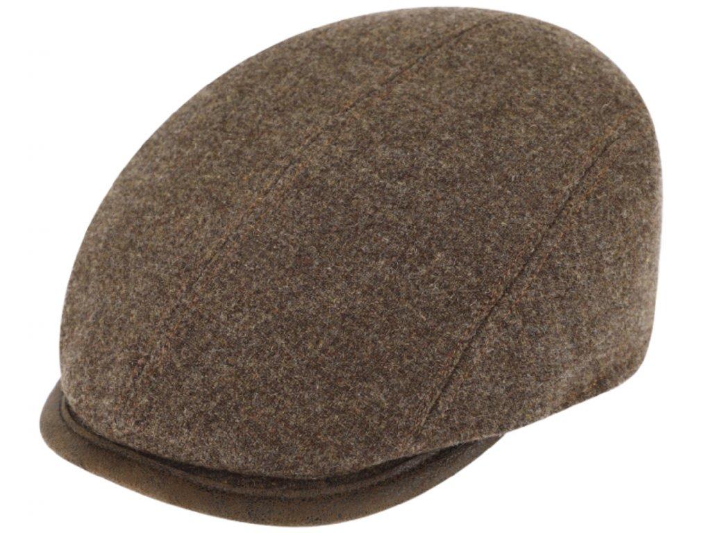 Zimní hnědá bekovka driver cap od Fiebig - hnědá vlna a kůže