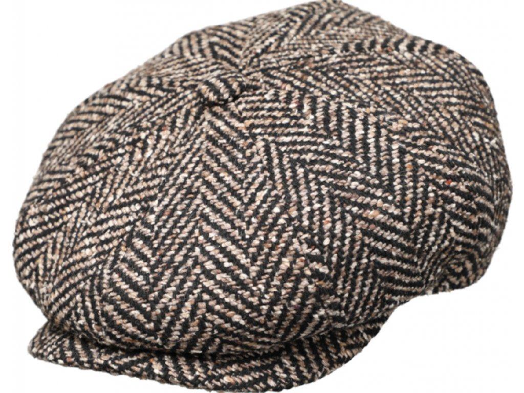Extra objemná bekovka Hatteras od Fiebig - Vlna / 8-Panel Cap Fischgraet Bakerboy Herringbone