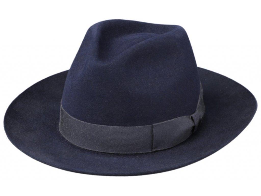 Modrý luxusní klobouk Fiebig - Fedora Bogart z králičí srsti