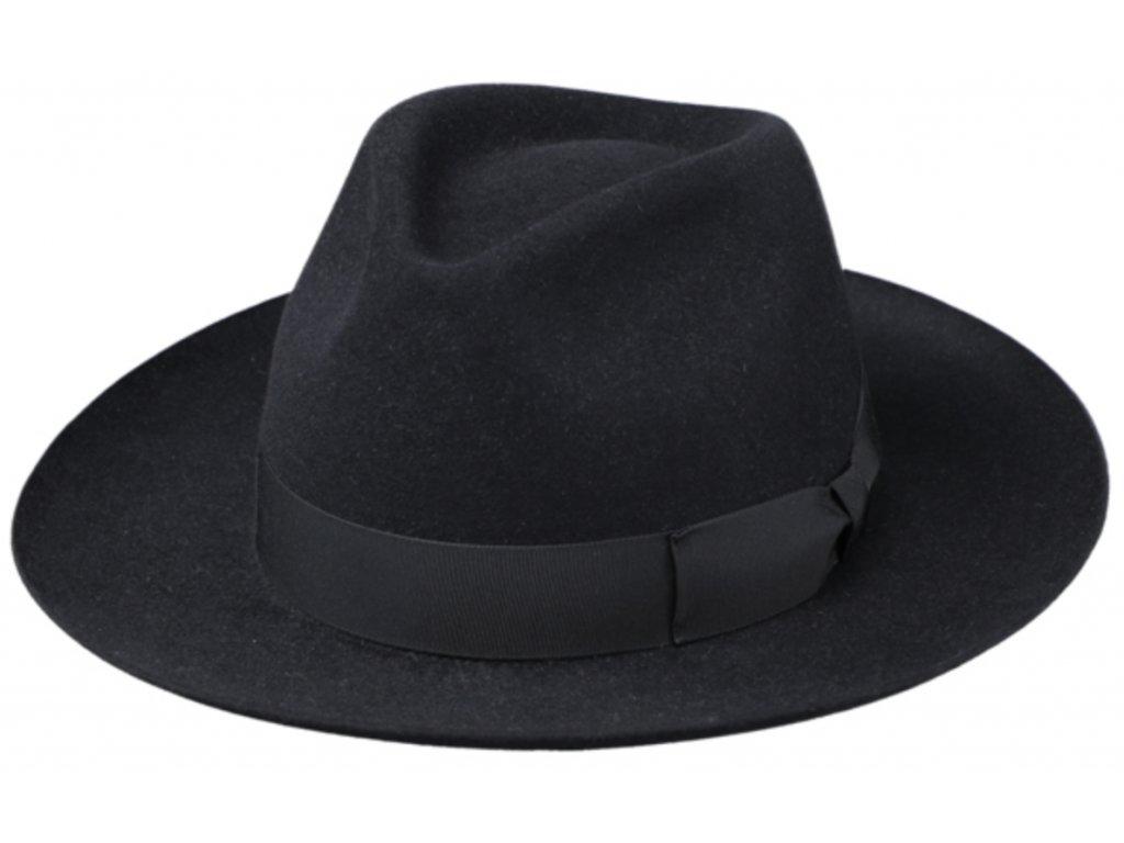 Černý luxusní klobouk Fiebig - Fedora Bogart z králičí srsti