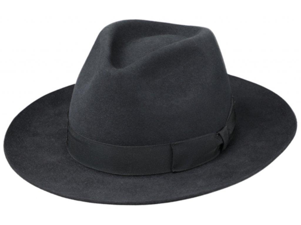 Šedý luxusní klobouk Fiebig - Fedora Bogart z králičí srsti