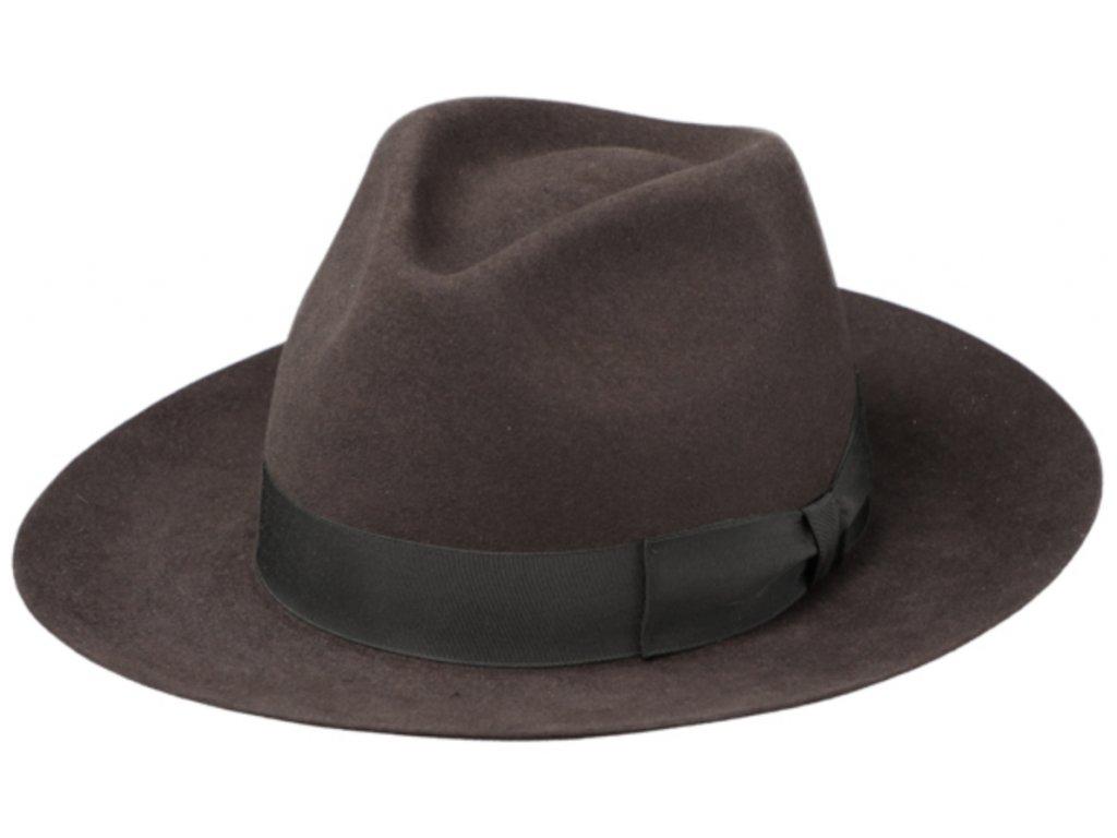Hnědý luxusní klobouk Fiebig - Fedora Bogart z králičí srsti