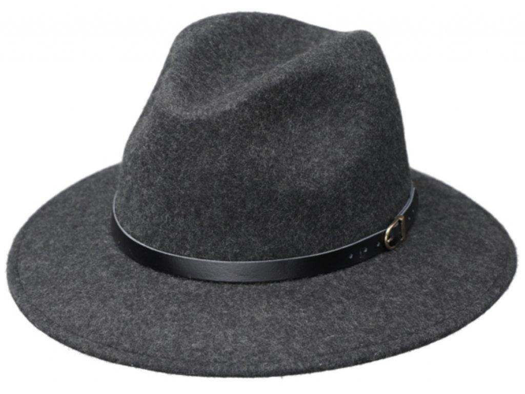 Cestovní klobouk vlněný od Fiebig - šedý s černou koženou stuhou - širák