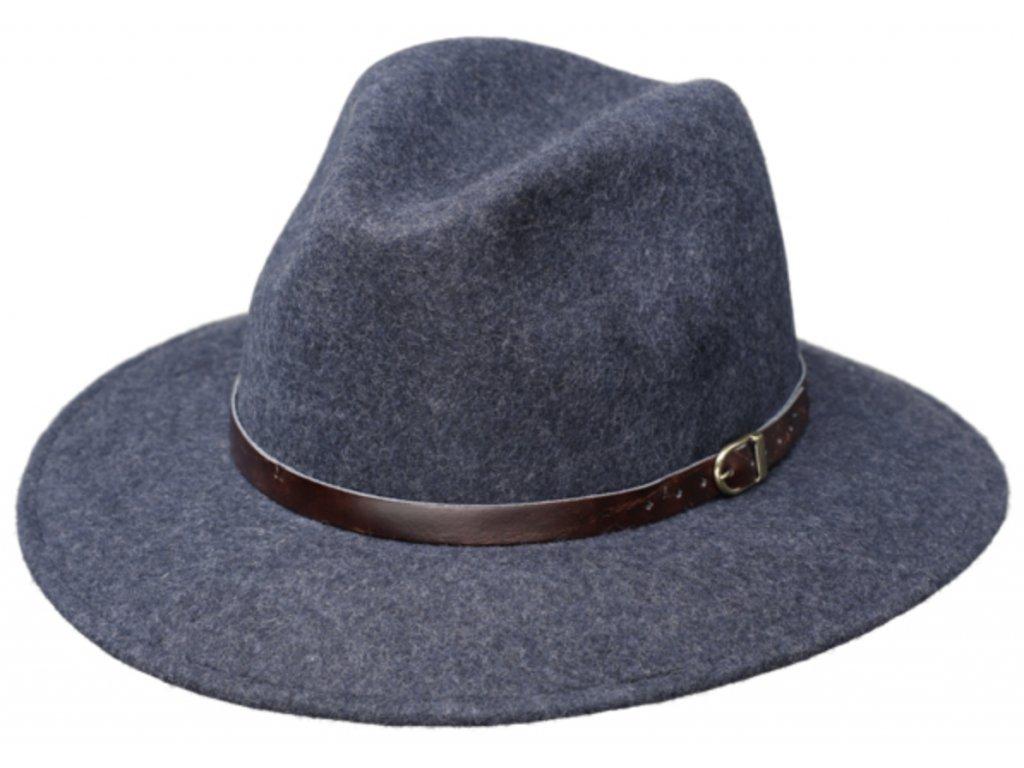 Cestovní klobouk vlněný od Fiebig - modrý s hnědou koženou stuhou - širák