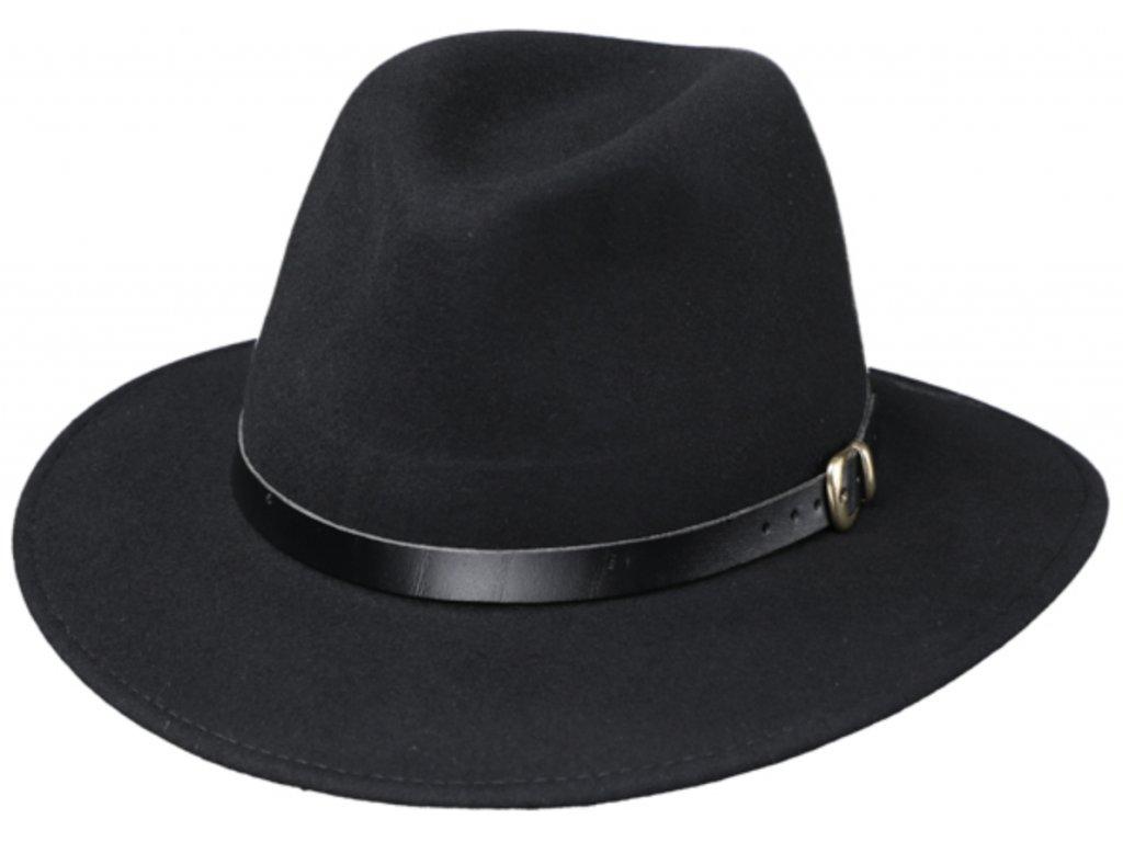 Cestovní klobouk vlněný od Fiebig - černý s černou koženou stuhou - širák