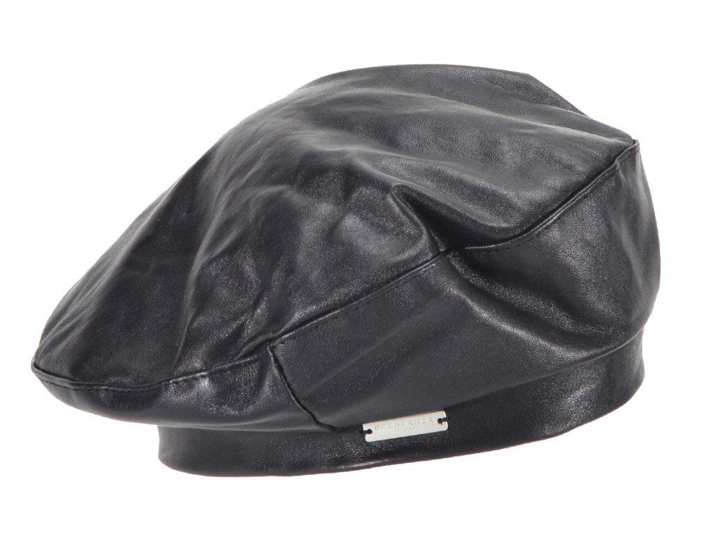 Kožený černý baret - Basque Leather
