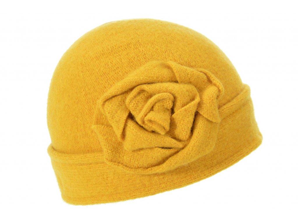 Vlněná dámská žlutá čepice od Seeberger
