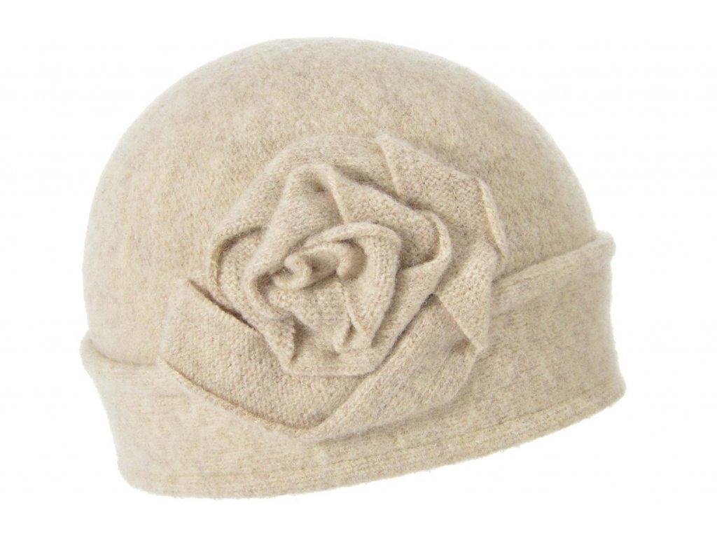 Vlněná dámská béžová čepice od Seeberger