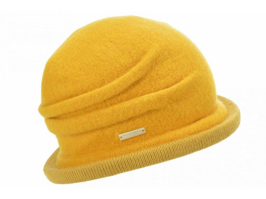 Vlněná dámská žlutá čepice - klobouček od Seeberger