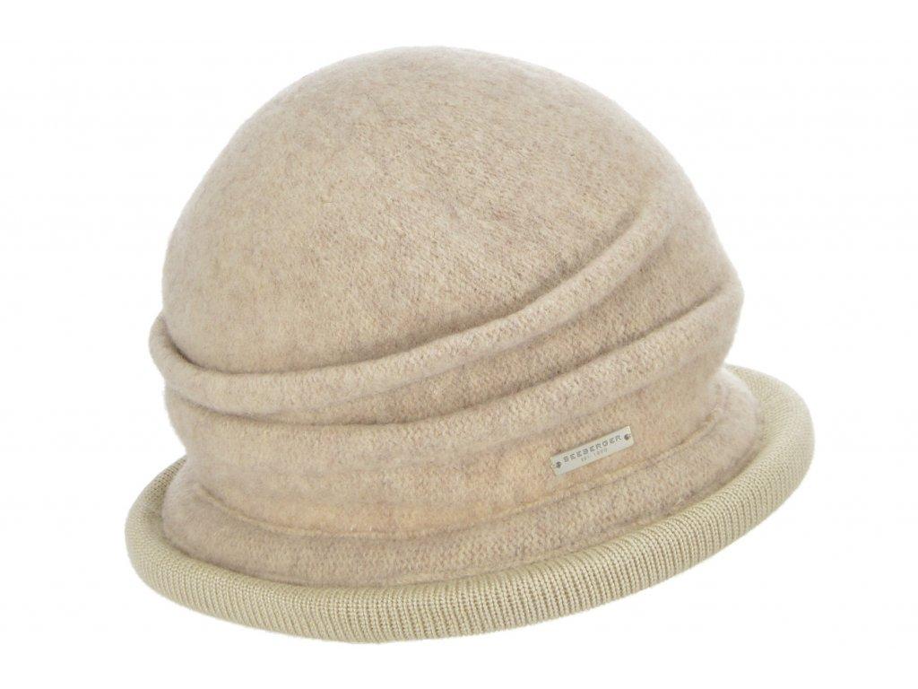Vlněná dámská béžová čepice - klobouček od Seeberger