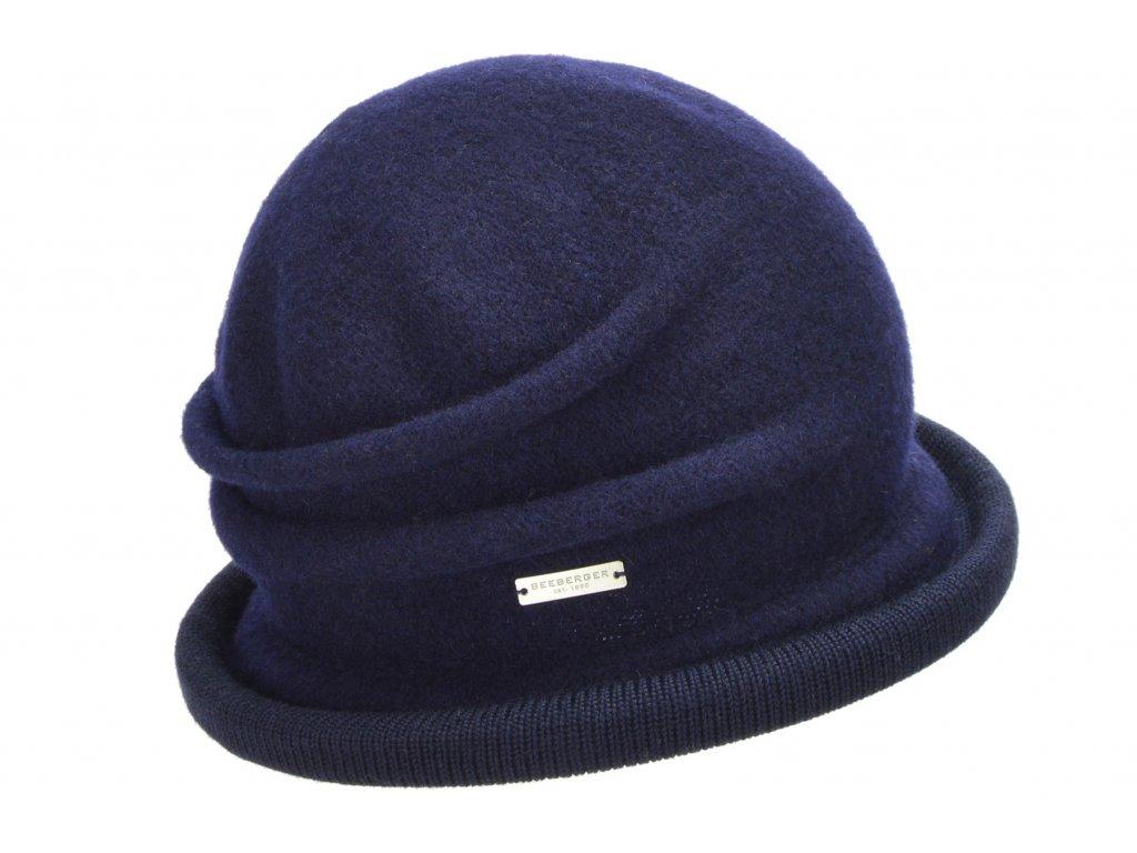 Vlněná dámská modrá čepice - klobouček od Seeberger