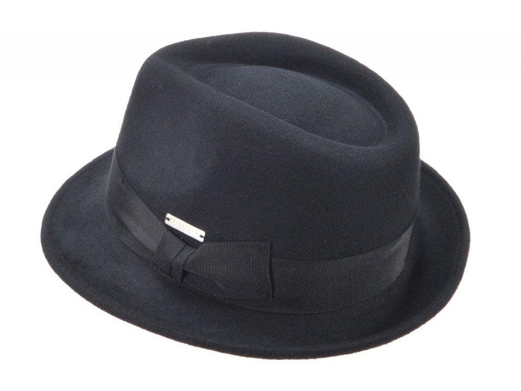 Trilby klobouk vlněný Seeberger  - černý s černou stuhou