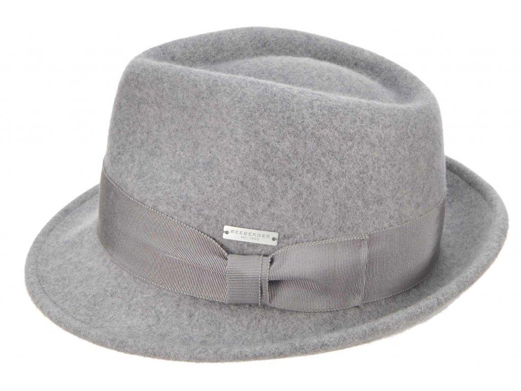 Trilby klobouk vlněný Seeberger  - šedý s šedou stuhou