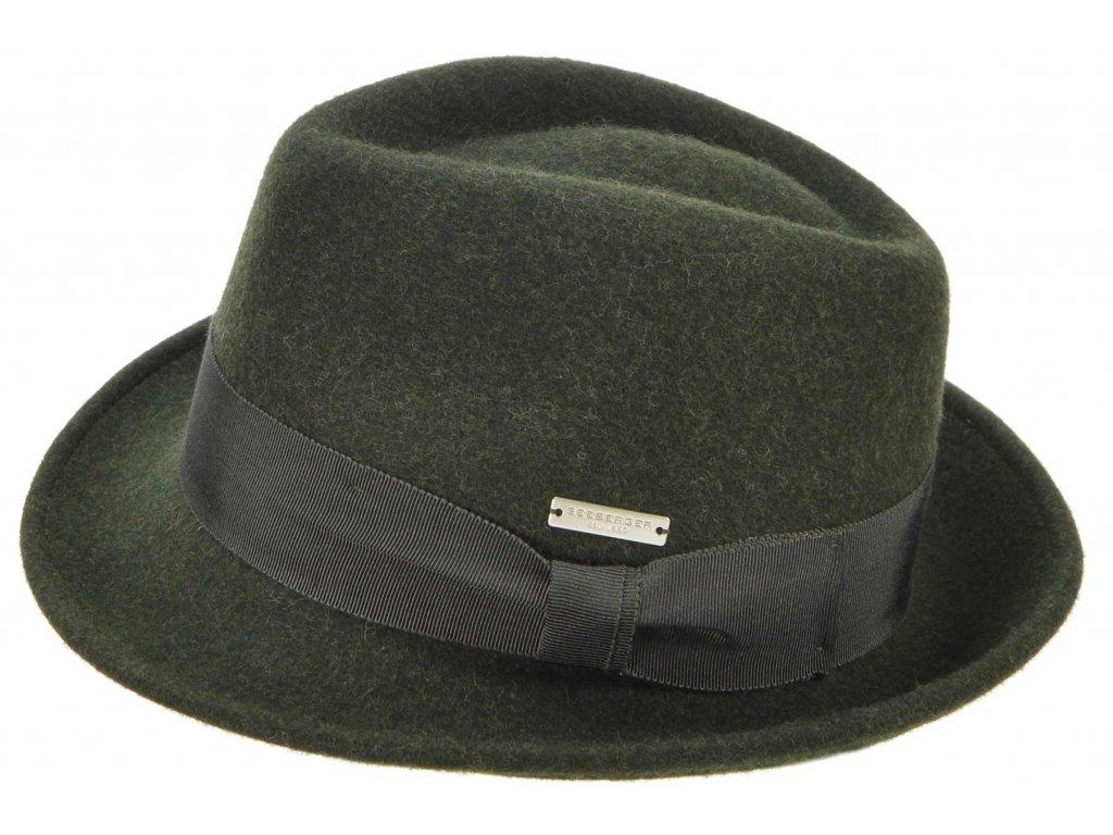 Trilby klobouk vlněný Seeberger  - zelený s zelenou stuhou