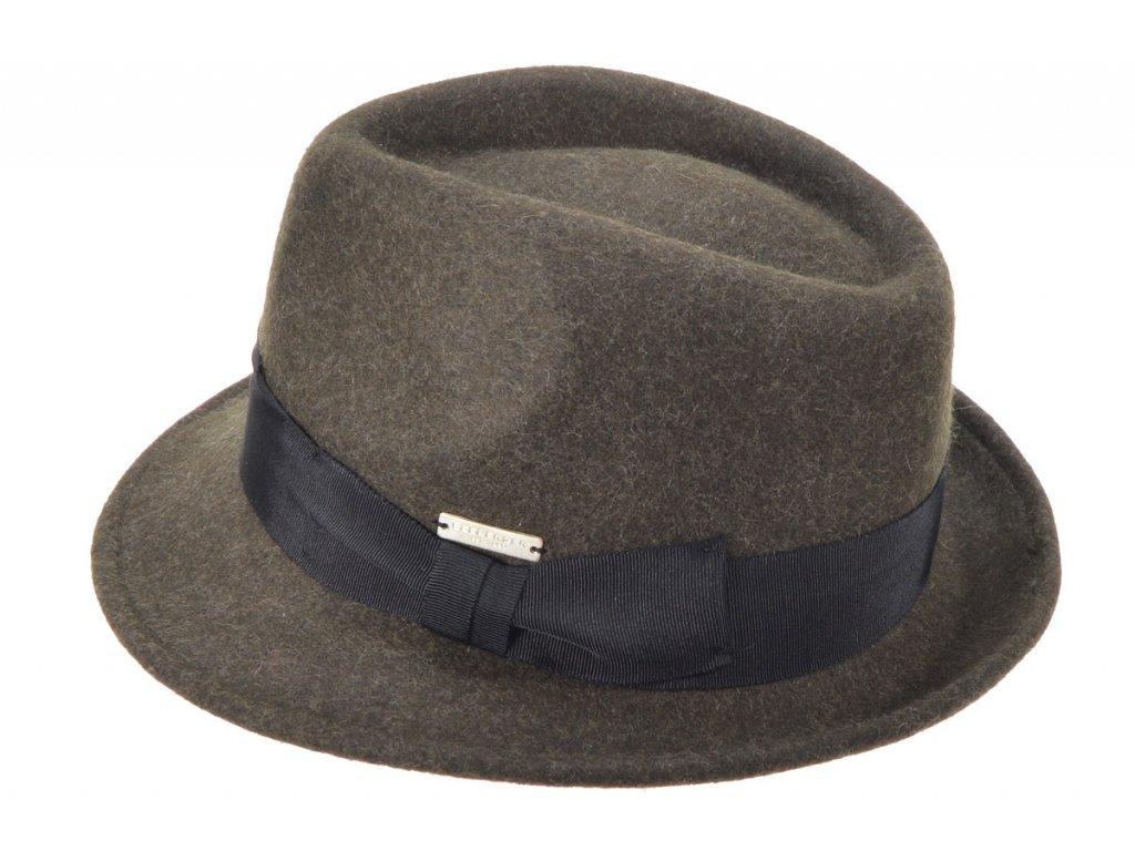 Trilby klobouk vlněný Seeberger  - hnědý s hnědou stuhou