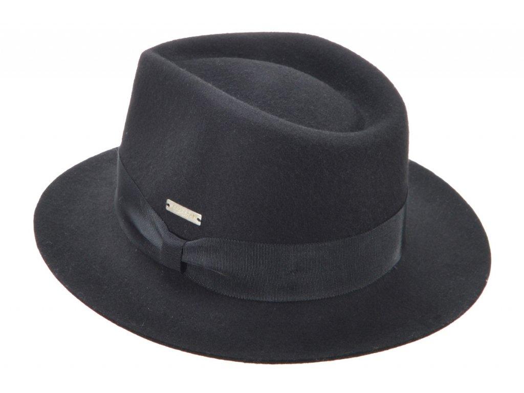 Fedora klobouk plstěný od  Seeberger  - černý s černou stuhou