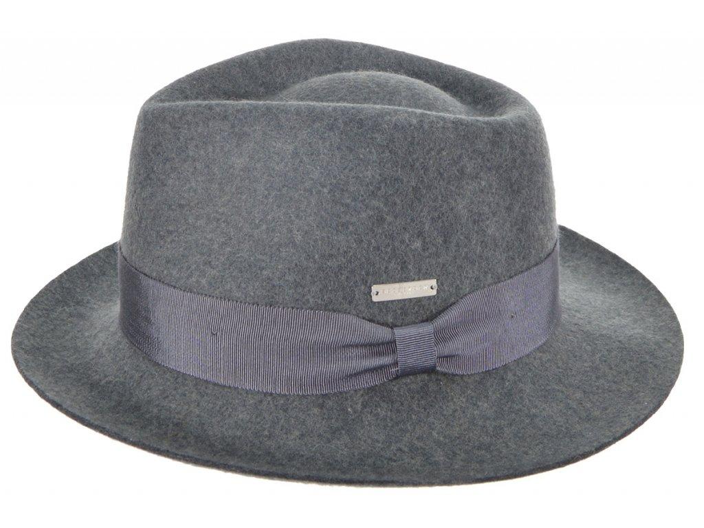 Fedora klobouk plstěný od  Seeberger  - šedý s šedou stuhou