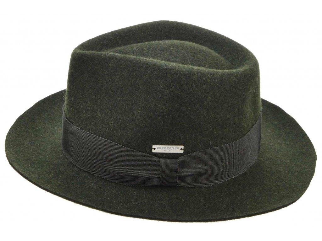Fedora klobouk plstěný od  Seeberger  - zelený s zelenou stuhou