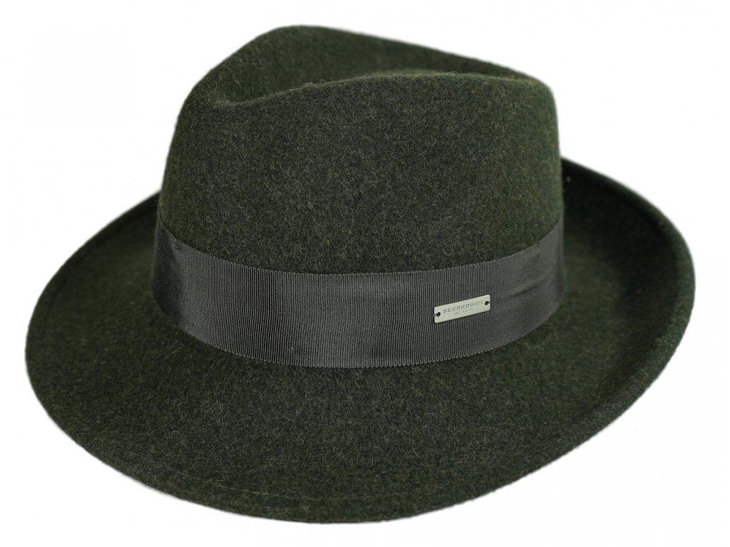 Bogart klobouk plstěný od  Seeberger  - zelený s zelenou stuhou