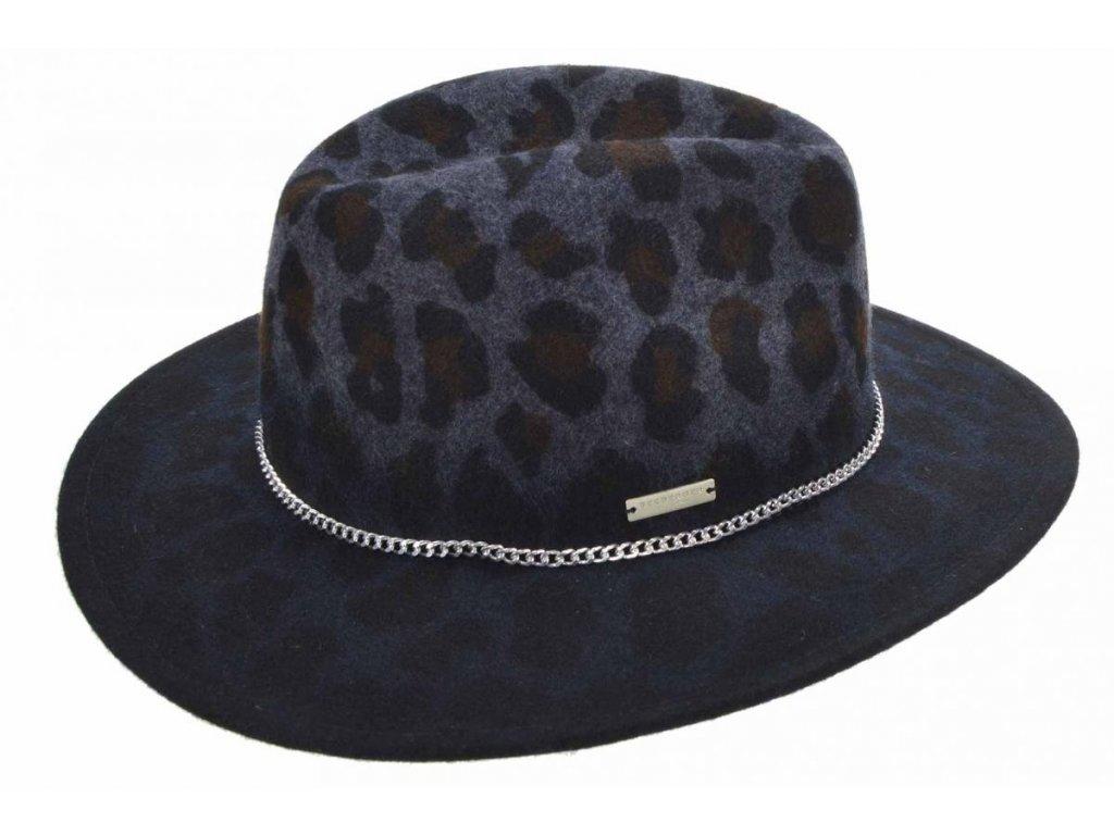 Zimní plstěný dámský klobouk fedora -  Seeberger - zvířecí print