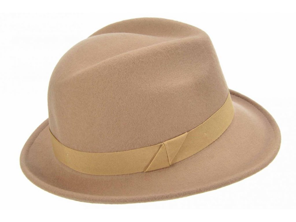 Dámský trilby klobouk vlněný Seeberger  - béžový s béžovou stuhou - klobouk s úzkou krempou