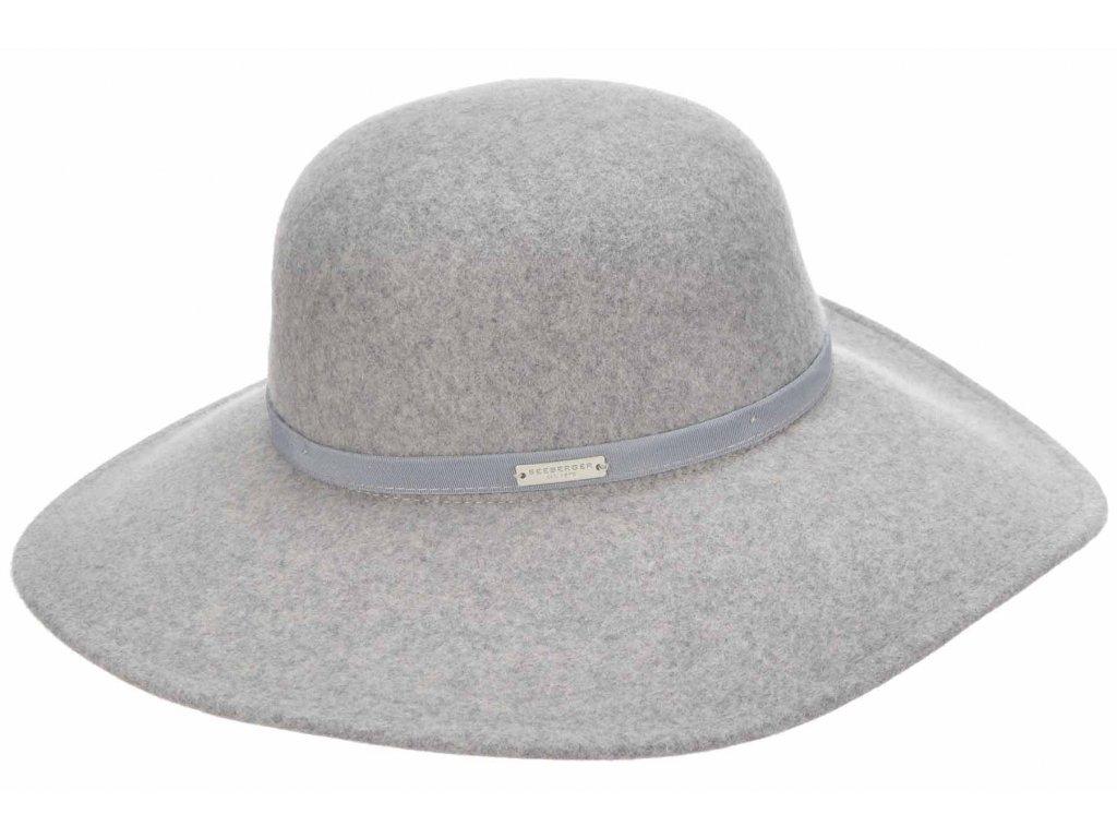 sedy klobouk s sirsi krempou