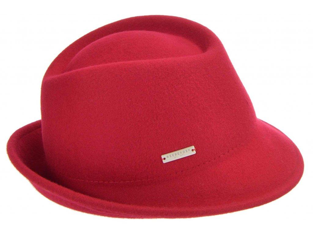 Dámský trilby klobouk vlněný Seeberger  - červený s červenou stuhou - klobouk s úzkou krempou