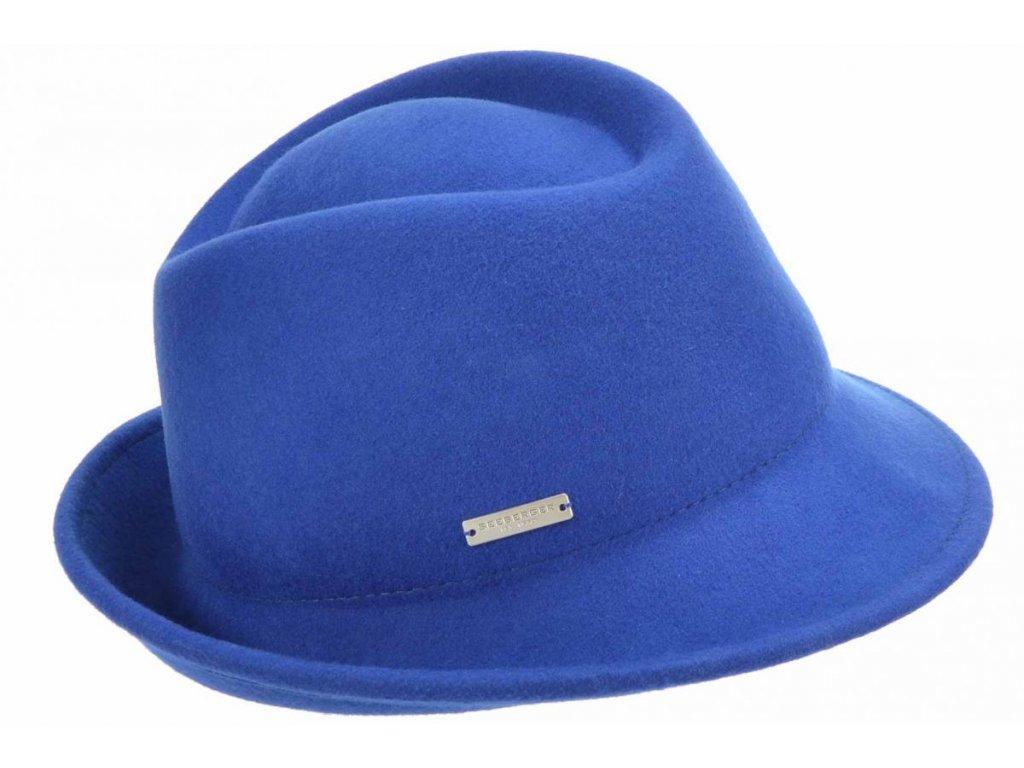 Dámský trilby klobouk vlněný Seeberger  - modrý s modrou stuhou - klobouk s úzkou krempou