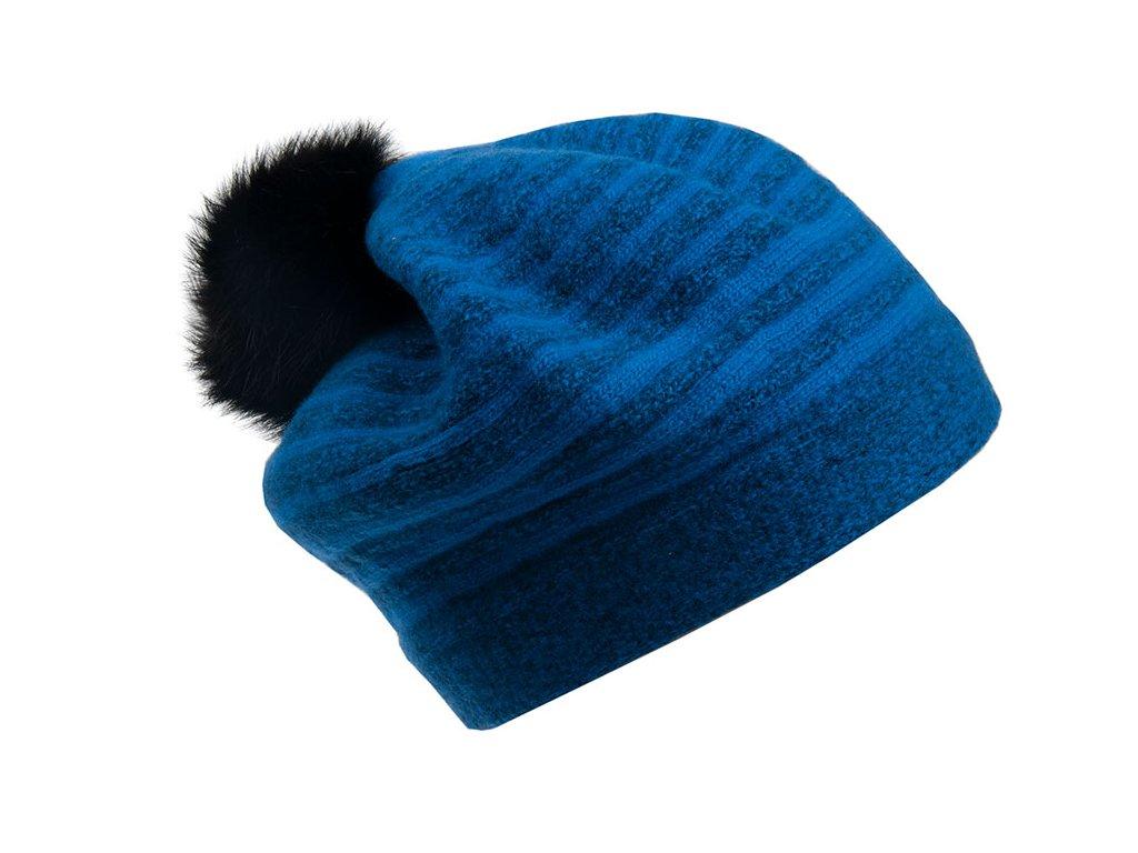 Vlněný baret Froderian Tonak modrý - pruhovaný