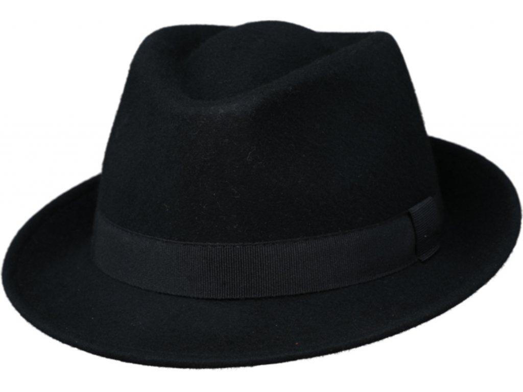 Klasický trilby klobouk vlněný Fiebig  - černý s černou stuhou