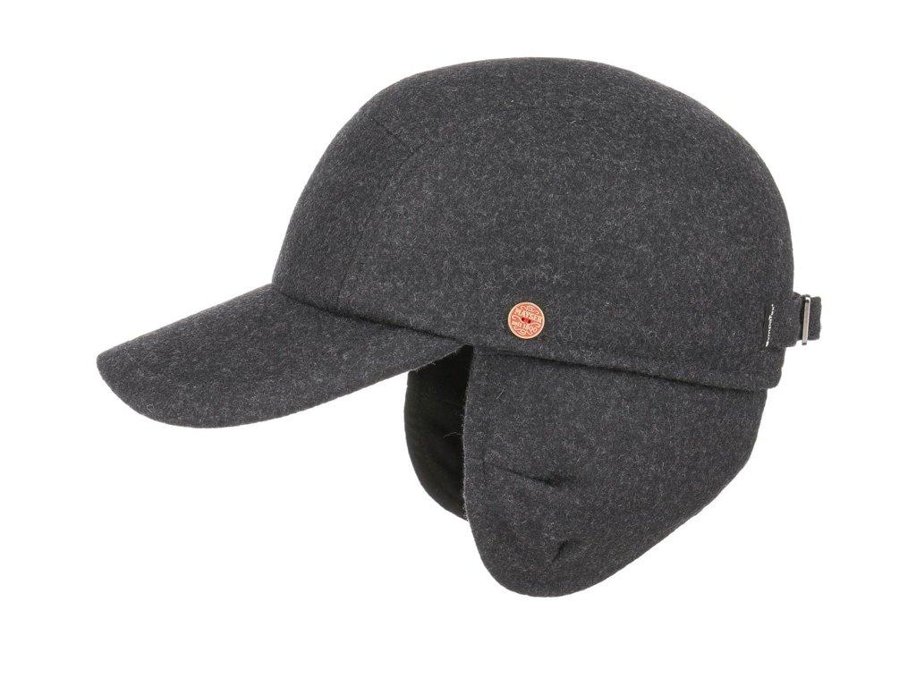 Pánská zimní šedá kšiltovka - Mayser Tino  (ušní klapky) - vlna a  SympaTex®