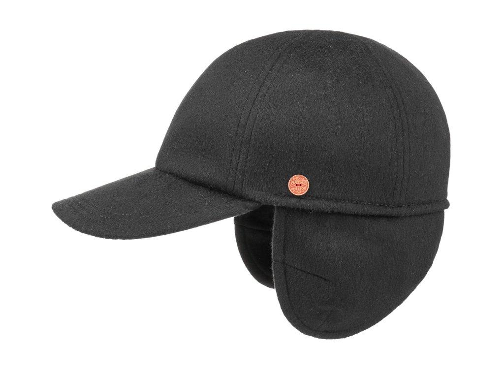 Pánská zimní černá kašmírová kšiltovka - Mayser Lars  (ušní klapky) -  100 % kašmír