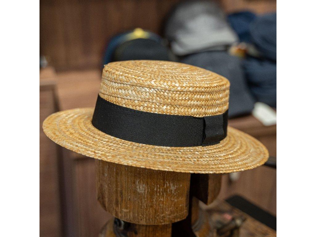 Letní slaměný boater klobouk - unisex žirarďák- Carlsbad Hat Co.