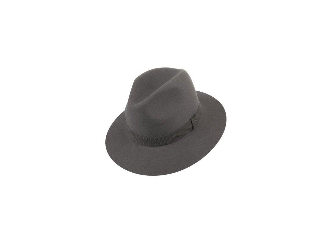 Decentní vycházkový šedý fedora klobouk oživený výrazně strukturovanou stuhou - Tonak 100031