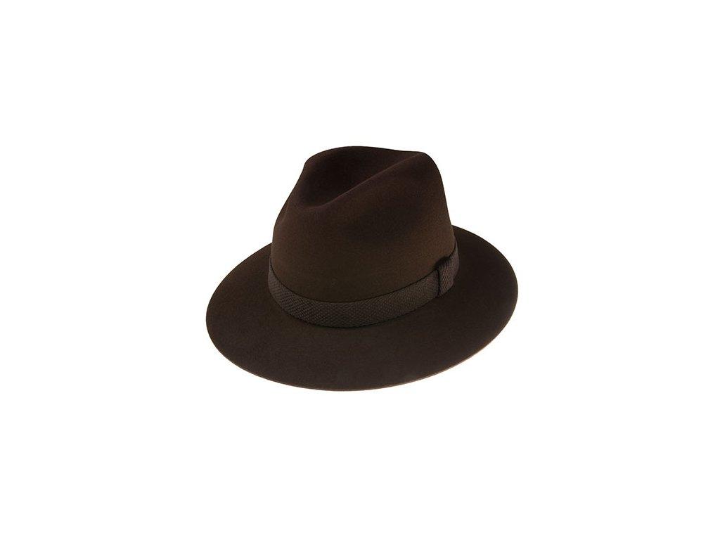 Decentní vycházkový hnědý plstěný klobouk  - Tonak 100031