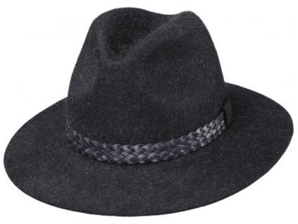 Šedý chlupatý klobouk Fiebig - vysoký vlas z králičí srsti