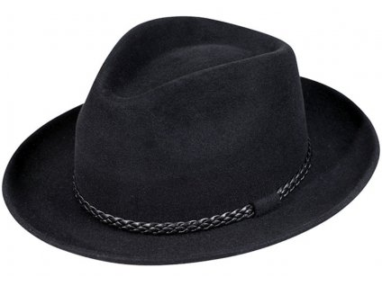 Plstěný černý klobouk Fedora - Fiebig - Traveller s koženou stuhou - Bestseller