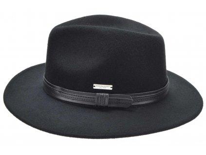 Fedora klobouk plstěný od  Seeberger  - černý s černou koženou stuhou