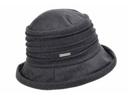 Dámský černý měkký vlněný klobouk cloche - Bucket Hat
