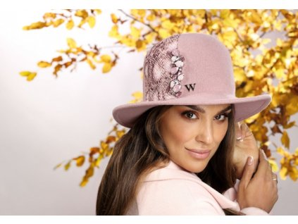 Dámský růžový vlněný klobouček - Sanosa