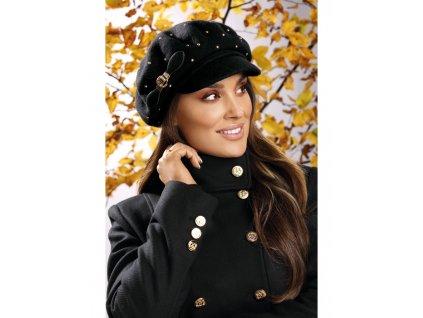 Dámská luxusní černá zimní bekovka s kšiltem - Willi Tanala