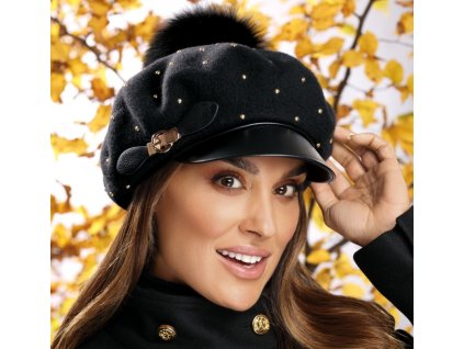 Dámská luxusní černá zimní bekovka s kšiltem - Willi Tanava