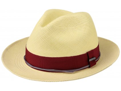 Letní slaměný klobouk Fedora - ručně pletený - bílá s bordó stuhou - Ekvádorská panama 1398414