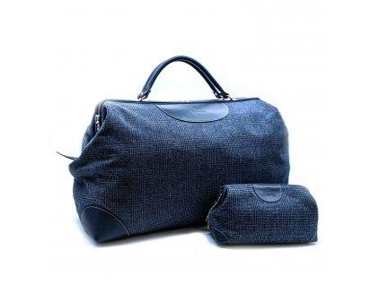 Cestovní taška a kosmetická taštička - tmavěmodrá kůže a kostkovaná vlna
