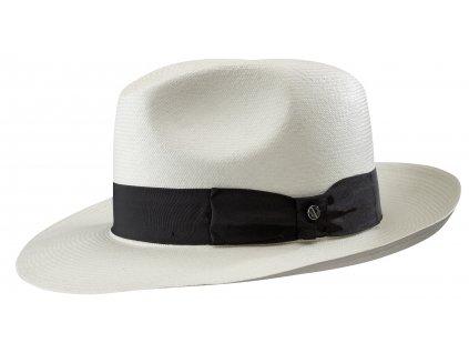 Luxusní Fedora Ekvádorská Panama 7/8 - ručně pletená - bílá s černou stuhou 2138403
