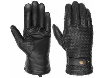 Pánské zimní černé kožené rukavice Stetson - Gloves Sheep Nappa - 9497503