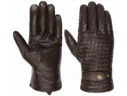 Pánské zimní hnědé kožené rukavice Stetson - Gloves Sheep Nappa - 9497503